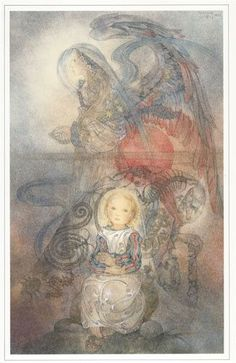 """Sulamith Wulfing Print """" The Angel and the Child """". Print measures 15-3/4 x 12. Actual print size 11x7"""". There is a 1-1/4"""" inch wide border on the top and 2-1/4"""" on both sides. On the bottom of the pr"""