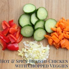 freezer crockpot dinner recipe- hot and spicy peanut chicken with chopped veggies