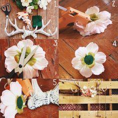 DIY floral antlers display