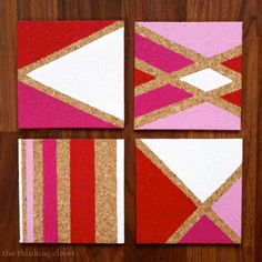 Painted Cork Coasters with – the thinking closet Do you have annual craft traditions? Well, I've decided I'm going to make it a tradition that every November, I tackle a new coaster project. Last November, I created my Anthropologie Wallpaper C… The Coasters, Arte Chevron, Anthropologie Wallpaper, Homemade Coasters, Easy Diy Christmas Gifts, Easy Gifts, Handmade Christmas, Christmas Decorations, Tutorial Diy