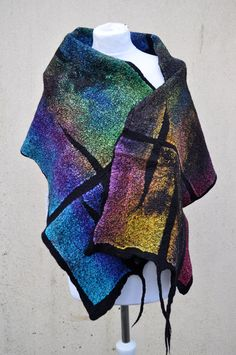 Beautiful shawl, felted scarf, silk, wool, felted, gift, fiber art, black, brown, turquoise, purple, mustard, green