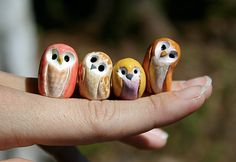 DIY for Christmas ornaments perhaps. Cutest little owls, (Polymer clay) by Roseann Todd.