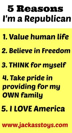 5 Reasons I'm a Republican. (Despite the fact that I'm disgusted with 90% of our representatives.)