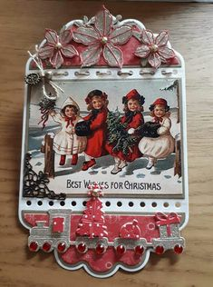 Christmas Cards To Make, Christmas Tag, Christmas Decorations, Holiday Decor, Mini Scrapbook Albums, Mini Albums, Ticket Card, Vintage Tags, Card Making