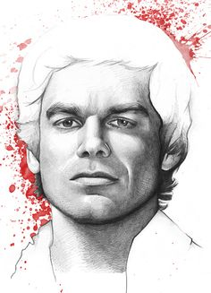"""Pencil drawing of Dexter, mixed with Photoshop splatters. 