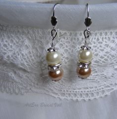 Bridal jewel earring capuccino pearl color and by arterabridalveil, $15.00
