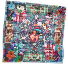 d9dd29094647 Christian Lacroix Scarf Joy Pretty   Magic Extra Large Wool Silk Square  Scarf