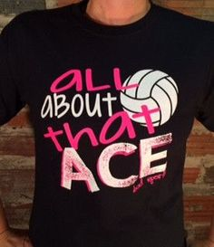 Cause I'm All About That Ace... Comes in Bright Safety Yellow, Sapphire Blue, Black and Dark Heather Gray with Bright Pink and White printing.