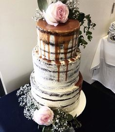 Wedding Cake - 3 Tiers - Vanilla White Chocolate Buttercream, Chocolate Cake, Caramel Drip, Fresh Florals