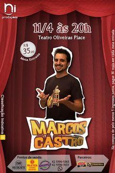 """O comediante Marcos Castro apresenta stand-up em Goiânia neste sábado, dia 11 de abril, às 20h, no teatro do Oliveira's Place. Marcos Castro possui mais de 1 milhão de assinantes em seu canal do YouTube, no ar desde 2006. O comediante já participou de programas de TV como o quadro """"Humor na Caneca"""" no Programa do Jô, e chegou à final de """"Quem Chega Lá"""", no """"Domingão do Faustão"""". Saiba o preço dos ingressos e os pontos de vendas no site Arroz de Fyesta."""