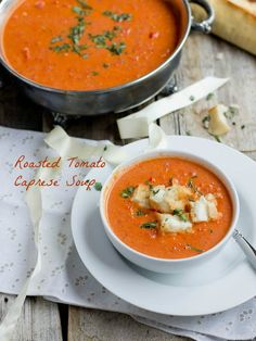 Roasted Tomato Basil Soup w/Mini Grilled Cheese Croutons that are seriously delicious!! ohsweetbasil.co