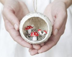 Diorama Ornament with Spun Cotton Mushrooms, Mica, and German Glass Glitter