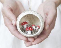 Diorama Ornament with Spun Cotton Mushrooms, Mica, and German Glass Glitter