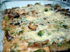 Chicken, mushroom, broccoli, brown rice bake