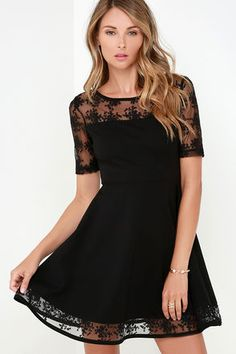Black Dress-with stomach black tights and a bracelet....adorable!