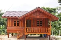 57 Most Popular asian house design philippines Bamboo House Design, Bungalow House Design, Small House Design, Hut House, Tiny House Cabin, Dream House Plans, Small House Plans, Cheap Tiny House, Modern Wooden House