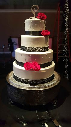 Calumet Bakery Wedding Cake Black and White With a Pop of Color