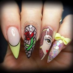 Beauty and The Beast Belle Nails Nail Art Disney, Disney Princess Nails, Disney Acrylic Nails, Princess Belle, Fancy Nails, Love Nails, My Nails, Beauty And The Beast Nails, Beauty Nails
