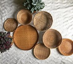 Set of 7 wall baskets - wall gallery - wall collage