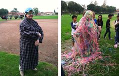 """Sierra Vista Middle School Principal Lynn Matassarin made good on her pledge to become a target of a student-led Silly String attack, following a highly successful PTA fundraiser. """"It was wet, cold and slimy, but it came right off,"""" says Matassarin, who insisted the stunt was still preferable to kissing a pig."""