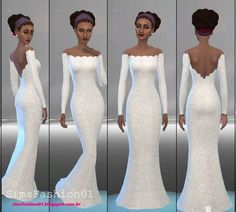 Embroidery Wedding Dress at Sims Fashion01