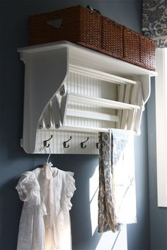 Laundry Drying Rack with Shelf & Hooks - from The Yellow Cape Cod: Laundry Room Makeover {Product Source List} Laundry Closet, Small Laundry Rooms, Laundry Room Organization, Laundry Room Design, Basement Laundry, Laundry Area, Laundry Tips, Vintage Laundry Rooms, Laundry Sorter