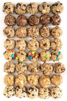 Your snack game will never be the same once you try these no-bake oatmeal energy balls. Includes eight flavor options, as well as tips for making your own. snacks Monster Cookie No-Bake Oatmeal Energy Balls Healthy Energy Ball Recipe, Healthy Protein Balls, Protein Foods, Paleo Energy Balls, Food For Energy, No Bake Protein Bars, Healthy Shakes, Energy Snacks, Baked Oatmeal