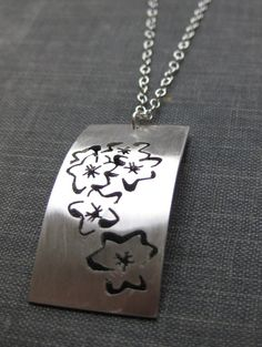 Silver Saw Pierced Forget-me-not Pendant £53.00  By Mikylla Claire Jewellery