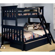 Alligator Slatted Twin Over Full Bunk Bed with Optional Trundle