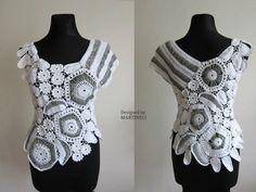 Blanco Crochet irlandés Crochet Freeform tapa de por MARTINELI