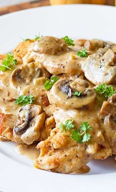 Easy Chicken Marsala - Fresh mushrooms are sautéed in butter and garlic then tossed in cream that's flavored with Marsala. Your family will think you slaved over a hot stove for hours! Try this quick and easy dinner. Yummy Chicken Recipes, Yum Yum Chicken, Turkey Recipes, Baked Chicken, Marsala Recipe, Recipe For Chicken Marsala, Easy Chicken Marsala, Cooking Recipes, Healthy Recipes