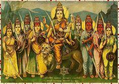 Indian Gods, Indian Art, Nav Durga Image, Mantra, Mother Kali, Durga Goddess, Durga Maa, Durga Images, Tanjore Painting