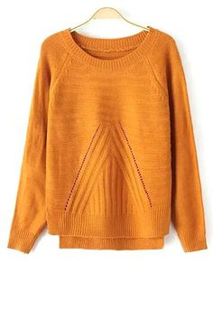 Solid Color High-Low Hem Long Sleeves Sweater
