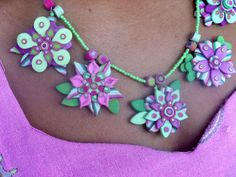 Basanta Mala a necklace of 5 flowers for Spring by SamunnatShop, $55.00
