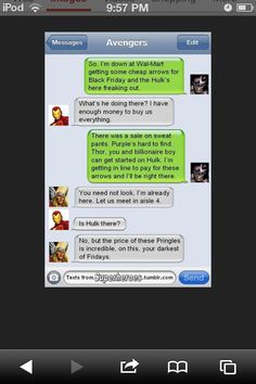 Funny avengers messages.