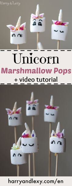 If you want to surprise the kids with a unicorn party try these Unicorn Marshmallow Pops. They look adorable and the recipe is much easier than a unicorn cake!