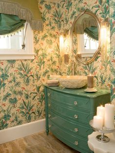 old dresser turned vanity eclectic bathroom