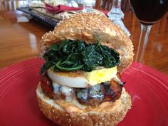 """""""Chorizo Burgers with Spanish Tortilla, Manchego Cheese, Kale & Roasted Red Pepper Sauce"""" made with Johnsonville Chorizo Patties by Richard M."""