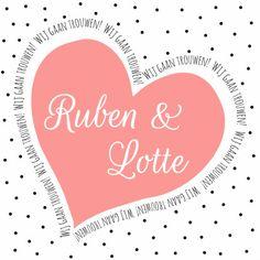 Trouwkaartje met stippen achtergrond en roze hart met tekst eromheen.   Maak je eerste kaart gratis op www.kaartje2go.nl