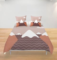 Woodland Duvet Cover Mountains Personalized Twin Full by Narais