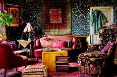 bright room colors for living room in boho chic style