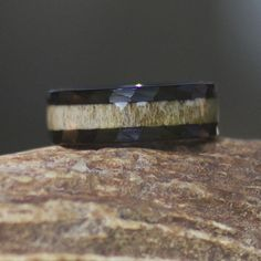 BRAND NEW - Black Tungsten Antler Ring with Hammered Edge - Color - Natural Grain