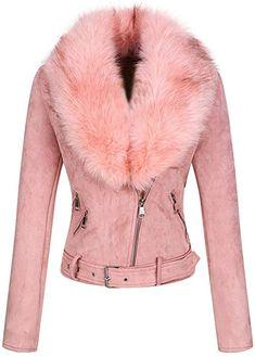 271436411d9 Amazon.com: Bellivera Women's Faux Suede Leather Short Jacket,Moto Coat  with Detachable