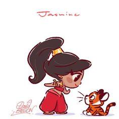 Jasmine [feat. Rajah] (Chibis by PrinceKido @deviantART) #Aladdin