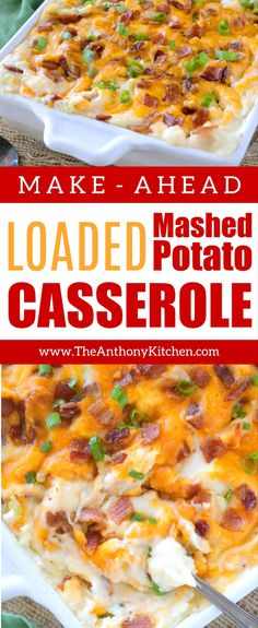 Make this make-ahead Mashed Potato Casserole for the best Thanksgiving side dish! A potluck casserole everyone loves, this easy loaded potato casserole with cream cheese, bacon, cheddar, and green onions feeds a crowd and a is comfort food favorite! Easy Potluck Recipes, Side Dish Recipes, Cooking Recipes, Best Potluck Dishes, Potluck Ideas, Gluten Free Potluck, Holiday Recipes, Loaded Mashed Potato Casserole, Potatoe Casserole Recipes