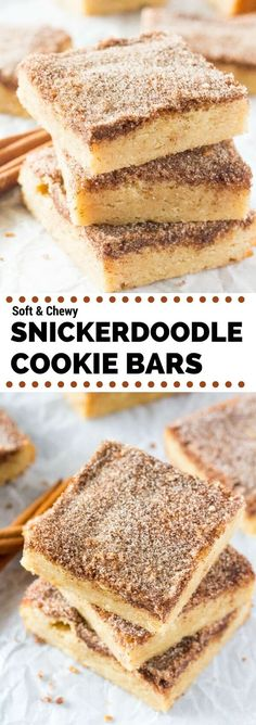 Soft chewy Snickerdoodle Cookie Bars have a delicious buttery flavor and crunchy cinnamon sugar topping. No mixer super easy to make! Visit Us To Know Dessert Simple, Easy Dessert Bars, Oreo Dessert, Baking Recipes, Cookie Recipes, Dessert Recipes, Baking Pies, Brownie Cookies, Chewy Brownies