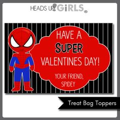 Personalized Valentines Day Spiderman Cards or Treat Bag Toppers by HeadsUpGirls, $5.00