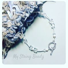 This gorgeous stardust sterling silver and Swarovski crystal bracelet will make any special occasion outfit complete!  Or throw it on with your comfiest jeans for a bit of fun bling!! #stardust #fromtheheart #mystringbeadz
