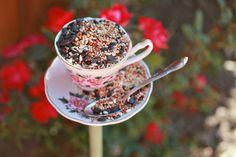 What a cute idea - a tea cup bird feeder for the garden