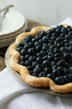 This single-crust blueberry pie features a mix of fresh and cooked berries, amped up with red wine, to imitate Chicago's Bang Bang Pie Shop's signature dessert. Blueberry Farm, Blueberry Recipes, Desserts To Make, Dessert Recipes, Pie Shop, Thing 1, The Fresh, Cooking Recipes, Pie Recipes